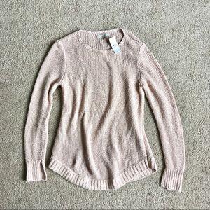 Loft blush pink knit crew neck pullover sweater